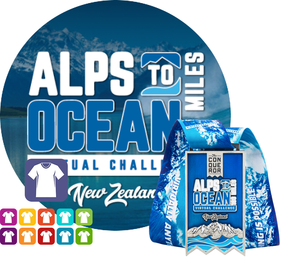Alps to Ocean Virtual Challenge | Entry + Medal + Apparel