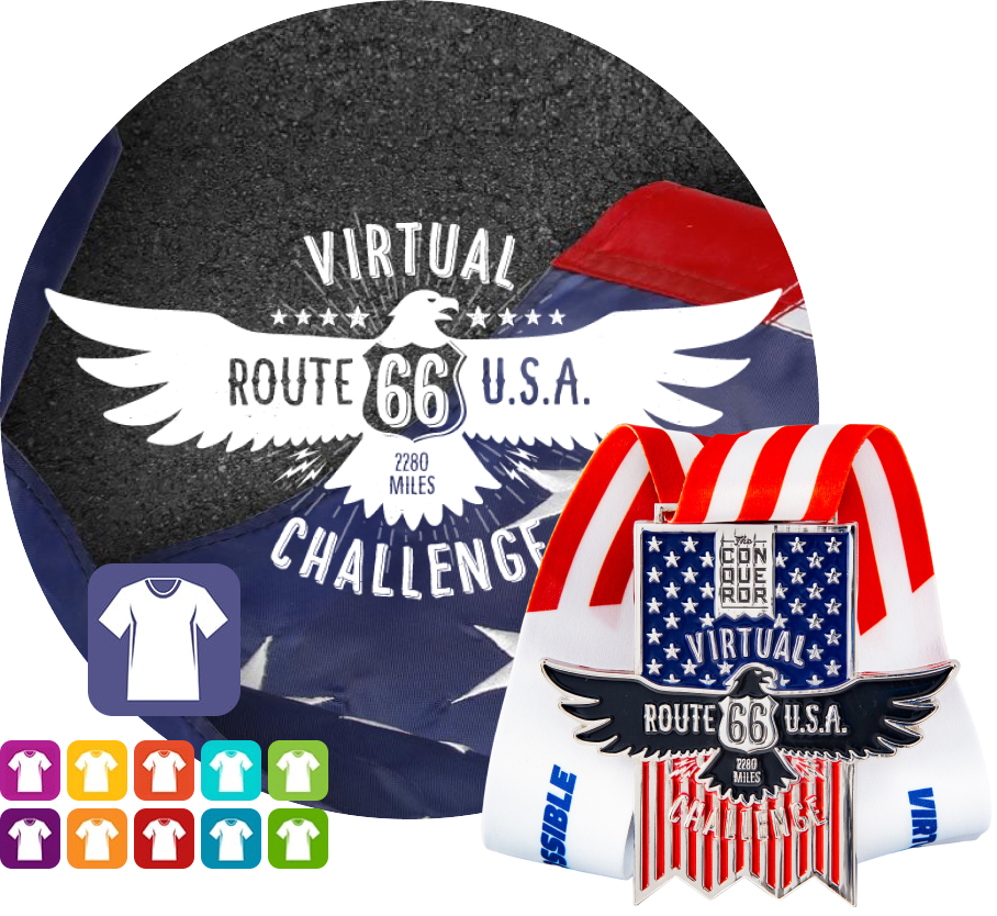 Route 66 Virtual Challenge | Entry + Medal + Apparel