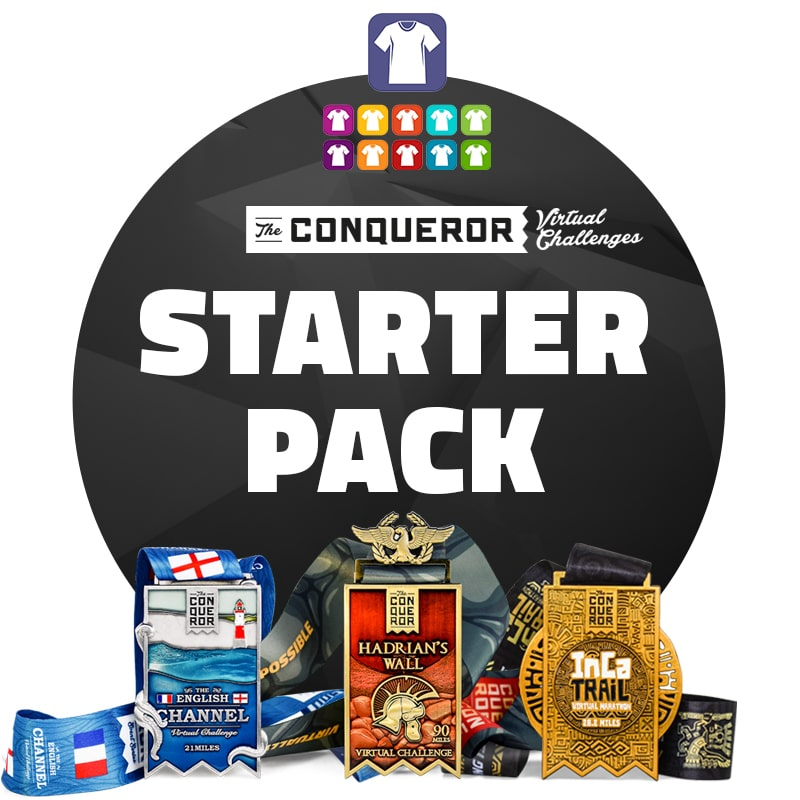 Conqueror Starter Pack - English Channel, Inca Trail, Hadrians Wall  | Entry + Medal + Apparel