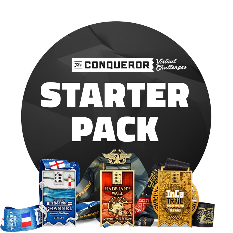 Conqueror Starter Pack - English Channel, Inca Trail, Hadrians Wall  | Entry + Medal
