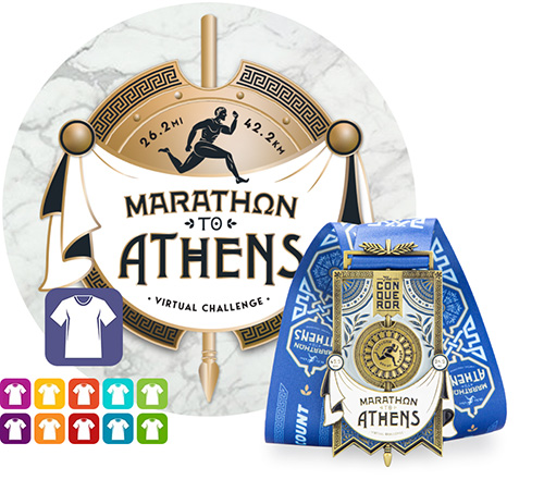 Marathon to Athens Virtual Challenge | Entry + Medal + Apparel