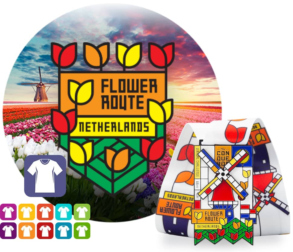 Flower Route Virtual Challenge   Entry + Medal + Apparel