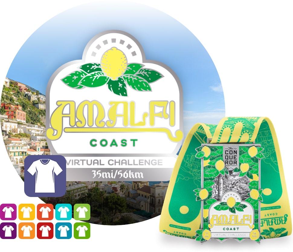 Amalfi Coast Virtual Challenge   Entry + Medal + Apparel